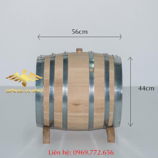 Thùng gỗ sồi 50 lít nằm ngang