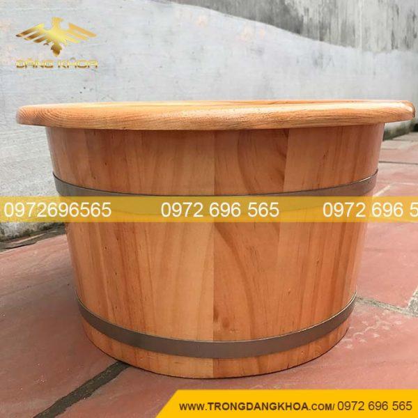 Thùng ngâm chân gỗ thông nhật bo viền