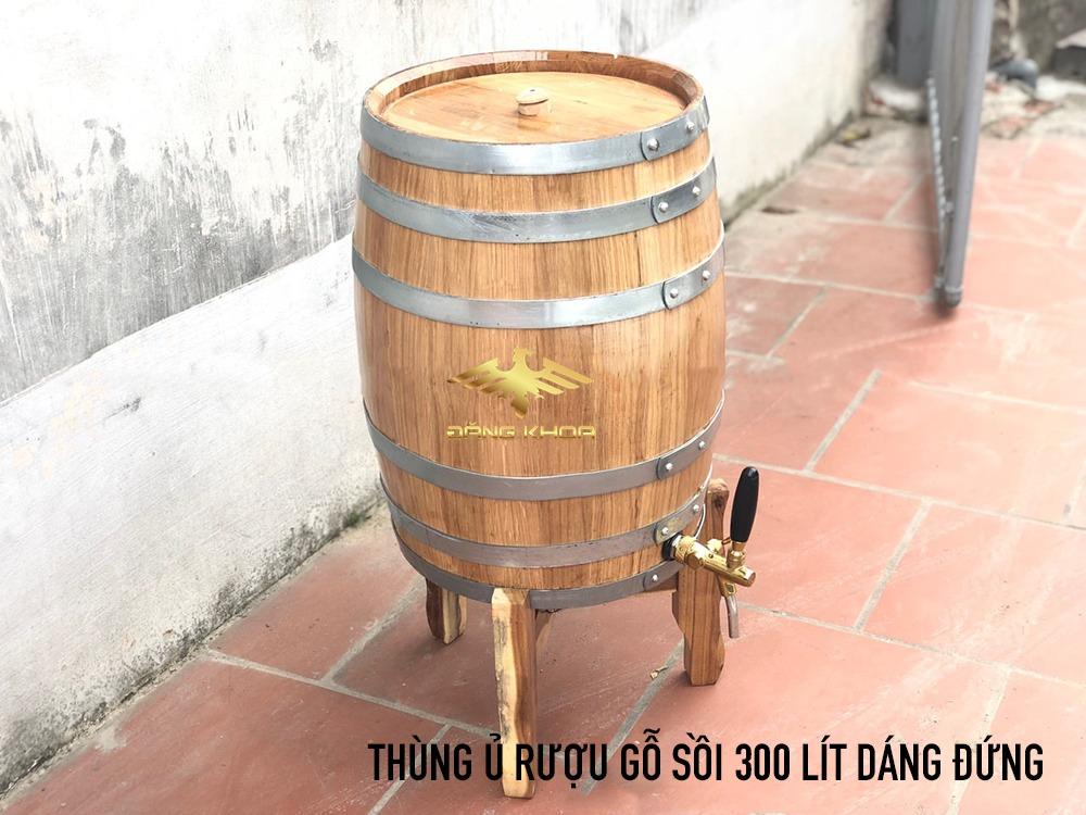 Thùng ủ rượu gỗ sồi 300 Lít dáng đứng