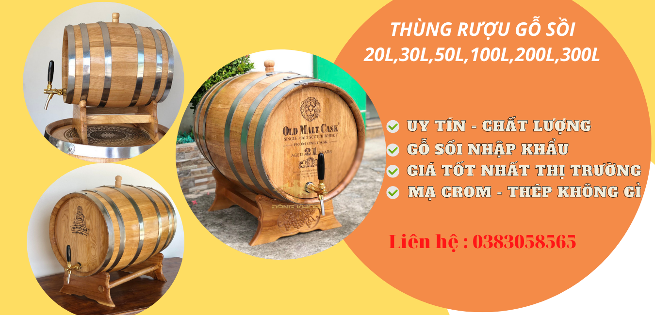 Thùng ngâm rượu gỗ sồi giá rẻ