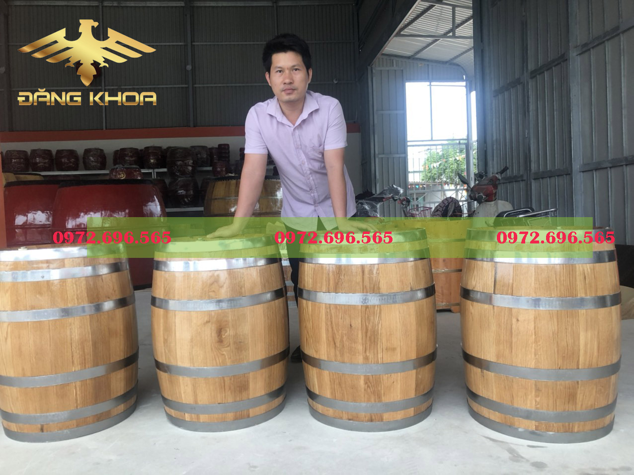 Xưởng sản xuất thùng gỗ sồi Đăng Khoa