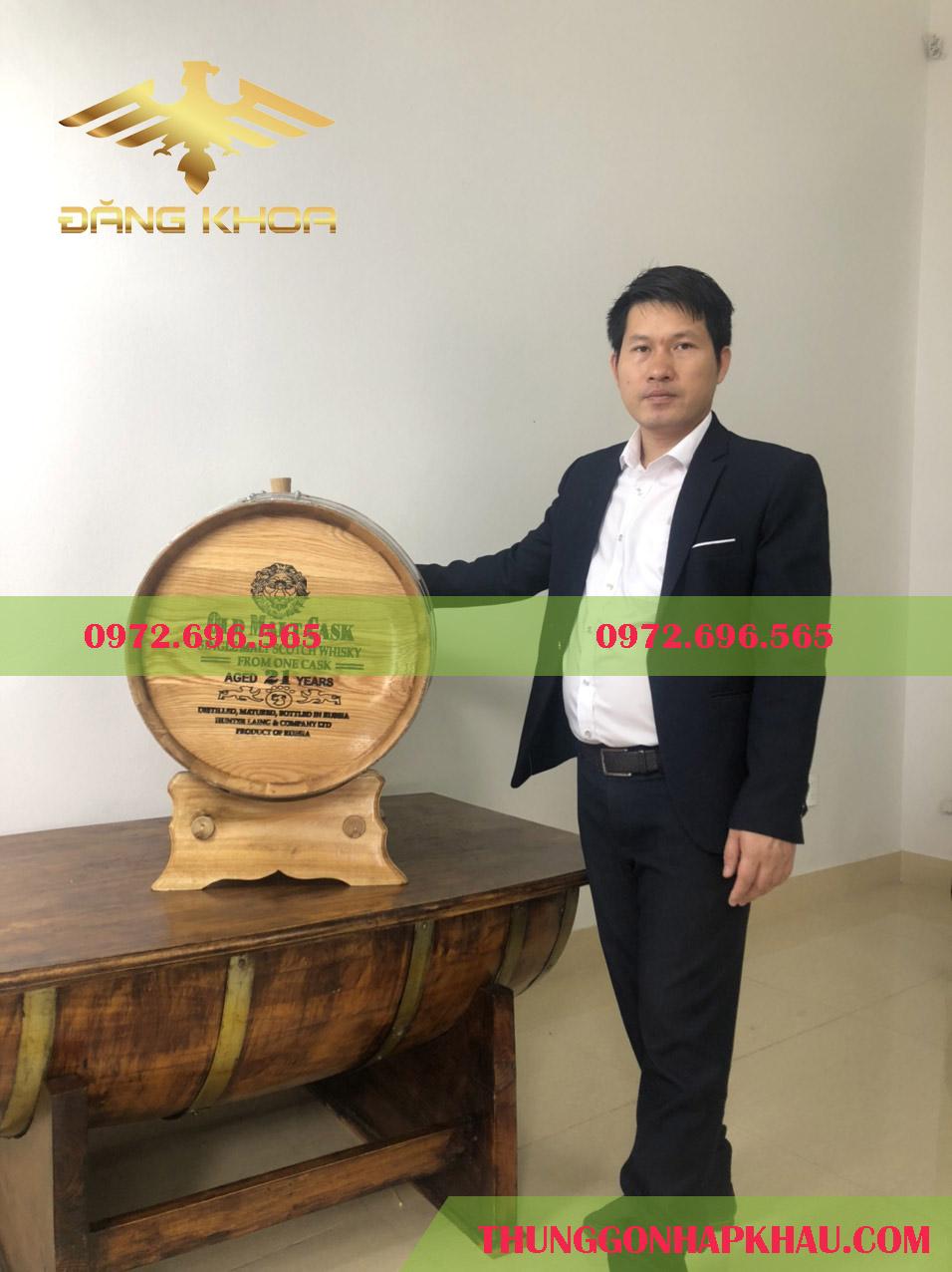 Thùng gỗ ủ rượu 100l