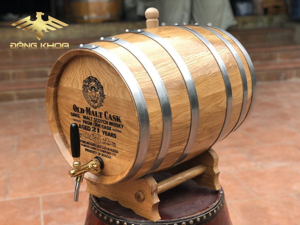Thùng gỗ Sồi ủ rượu 200L dáng nằm