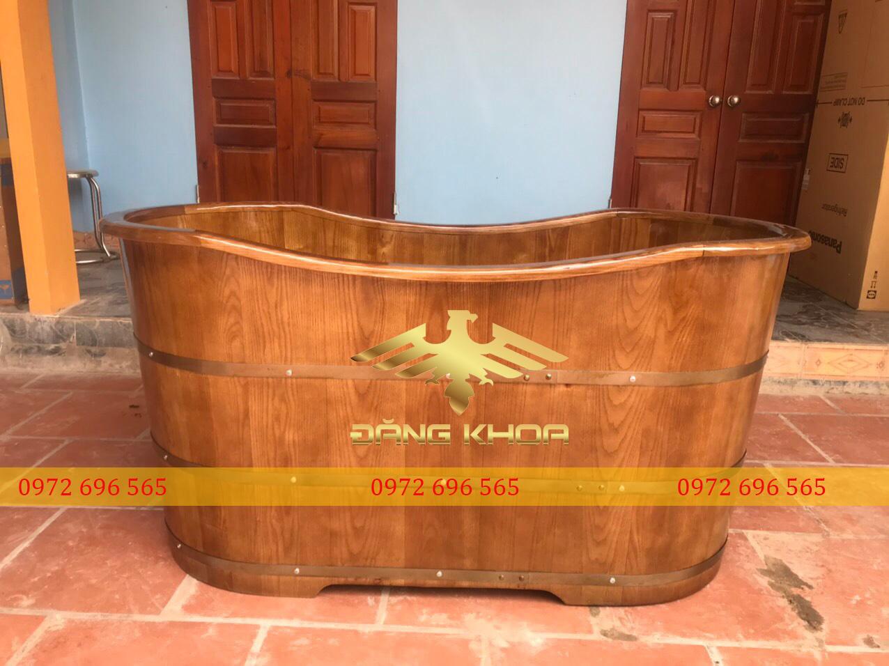 Cách sử dụng bồn tắm gỗ pơ mu 120cm bo viền