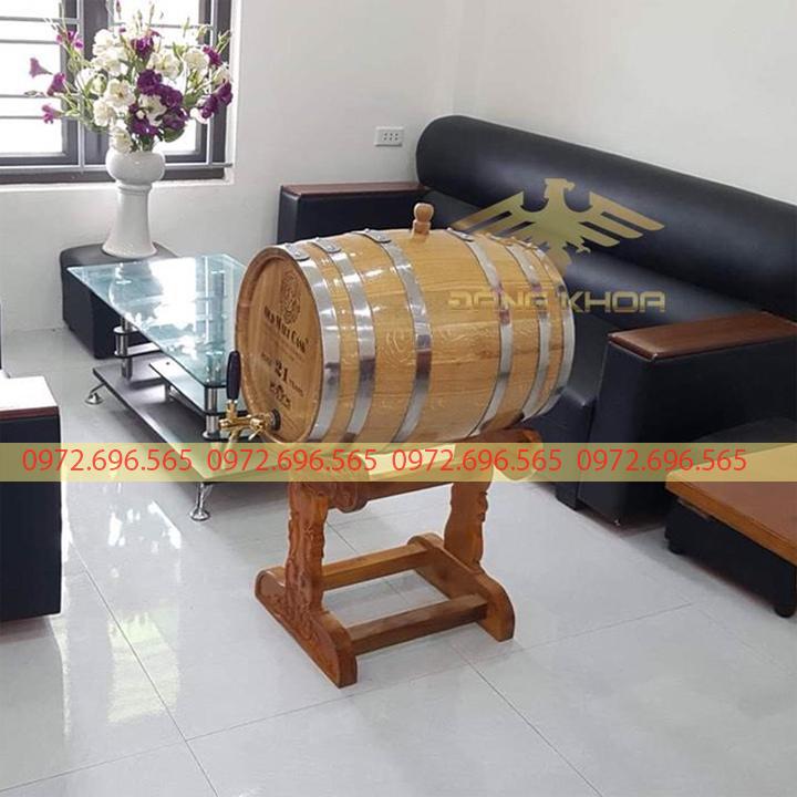 Thùng rượu gỗ sồi chạm khắc cao cấp 2021