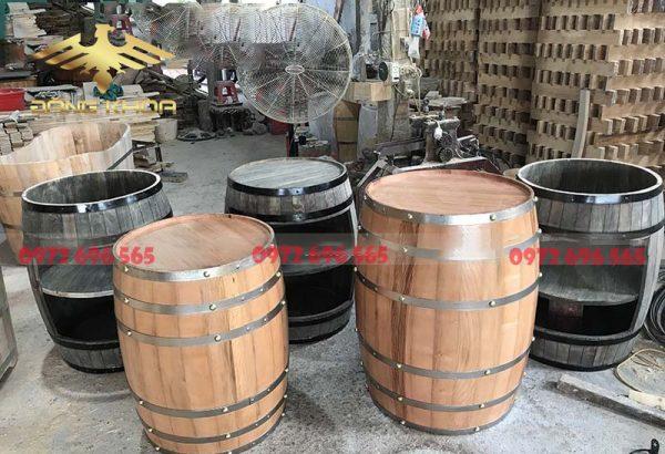 Bán thùng gỗ đựng rượu cũ trưng bày 1 mét giá rẻ Hà Nội