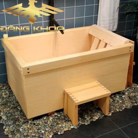 Mua bồn tắm gỗ sồi vuông góc