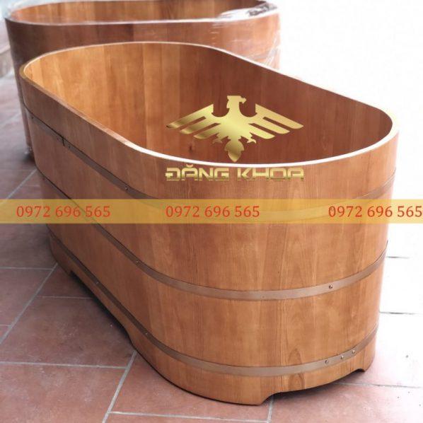 Bồn tắm gỗ dáng nằm Oval giá rẻ