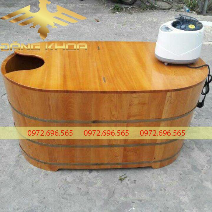 Thiết kế độc đáo của bồn tắm tròn gỗ pơ mu bo viền 2 lớp