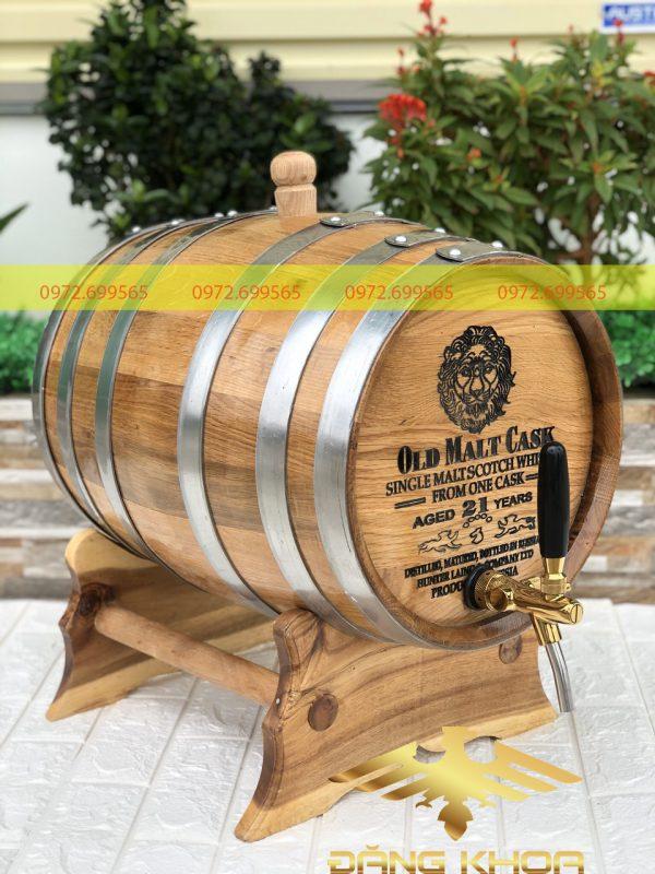 Thùng rượu gỗ sồi 50l khắc mặt thùng