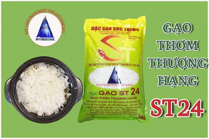 Gạo Sóc Trăng ST24 (ông Cua) chính hãng là gạo lừ lúa ST24 chính gốc được lai tạo bởi Nhóm của kỹ sư Hồ Quang Cua, được đóng sản xuất và đóng gói bởi DNTN Hồ Quang Trí.